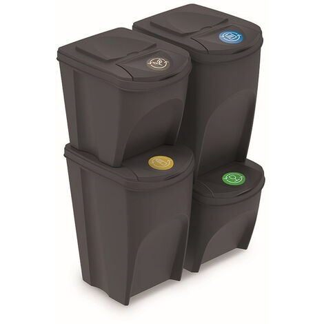 Prosperplast Lot de 4 bacs recyclage (2x35L et 2x25L) Sortibox plastique anthracite