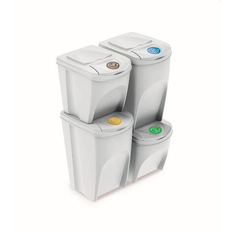 Prosperplast Lot de 4 bacs recyclage (2x35L et 2x25L) Sortibox plastique blanc