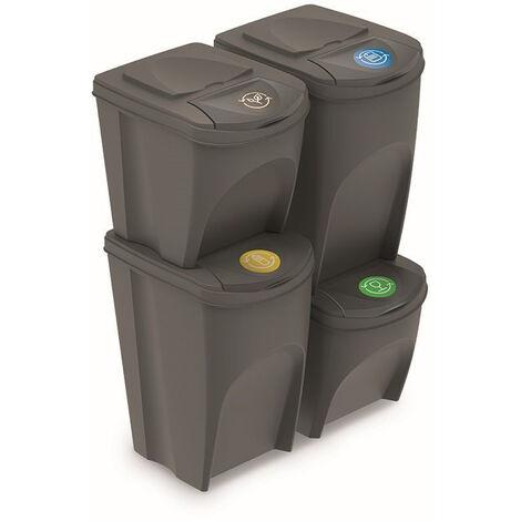 Prosperplast Lot de 4 bacs recyclage (2x35L et 2x25L) Sortibox plastique gris
