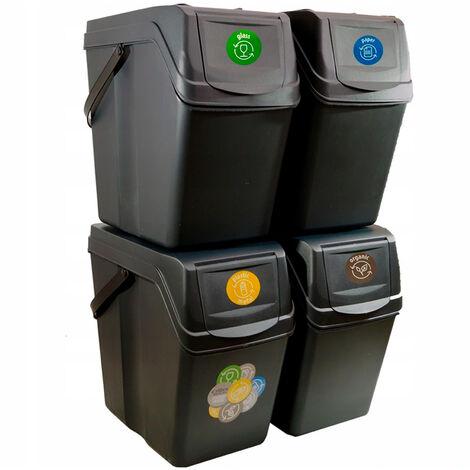 Prosperplast Lot de 4 cubes de recyclage 100 l Sortibox en plastique anthracite 4 x 25 l