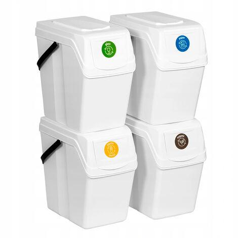 Prosperplast Lot de 4 cubes de recyclage 100 l Sortibox en plastique blanc 4 x 25 l