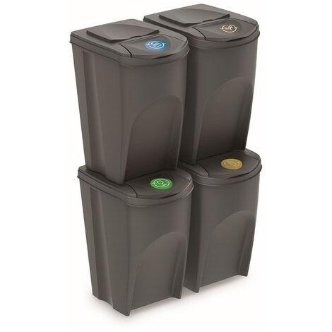 Prosperplast Lot de 4 cubes de recyclage 140 l Sortibox en plastique gris 4 x 35 l