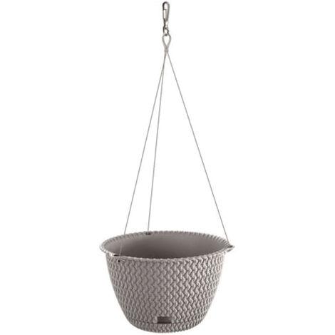 PROSPERPLAST Pot à suspendre 4,8L Splofy WS rond plastique gris avec clip