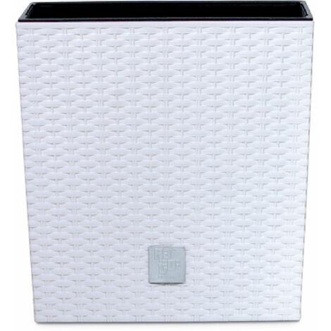 PROSPERPLAST Pot Rato Square 32 L avec depôt en plastique blanc 33x33x33 cm
