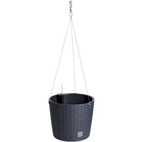 PROSPERPLAST Pot rond avec crochet 8,9 litres Rato W en anthracite avec gobelet de plantation 25,6 x 25,6 x 21,9 cm