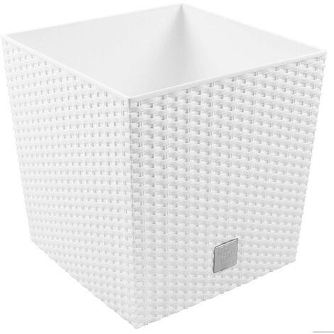 PROSPERPLAST Rato 10 litres avec bac de plantation blanc 22,3 x 22,3 x 22,8 cm.