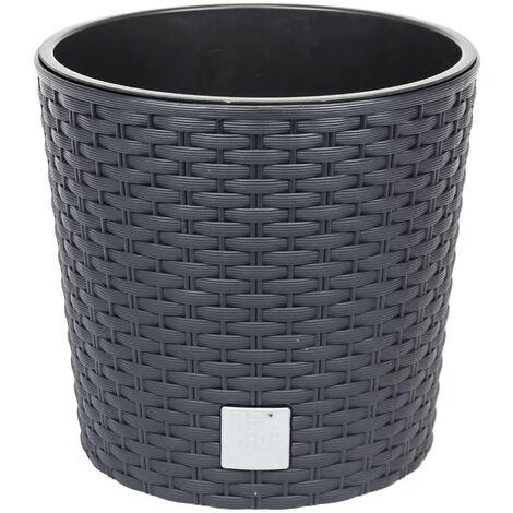 PROSPERPLAST Rato Pot rond anthracite 8,7 litres avec pot à planter Ø 25 x 22,4 cm