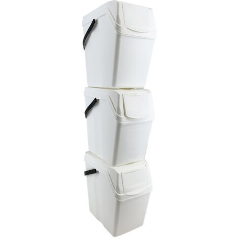 Prosperplast Set 3 poubelles de recyclage avec capacité de 75 litres en blanc