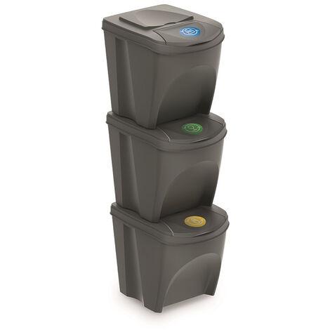 Prosperplast Set 3 poubelles de recyclage avec capacité de 75 litres en gris