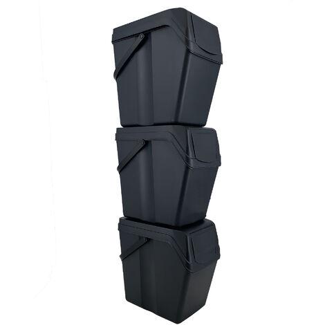 Prosperplast Set 3 poubelles de recyclage avec capacité de 75 litres en noir