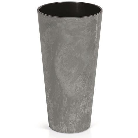 Prosperplast Tubus Slim Effect de plástico CON depósito en color Gris oscuro, 57,2 (alto) x 30 (ancho) x 30 (profundo) cms