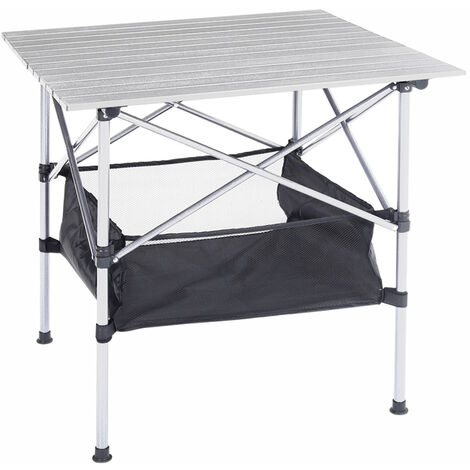 Protable Folding Picnic BBQ Camping Table Garden Outdoor Storage Serving Tables, White