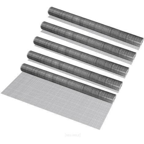 [pro.tec] 5 rollos de malla de alambre (cuadrados)(1m x 5m)(galvanizado) valla de tela metálica cerca