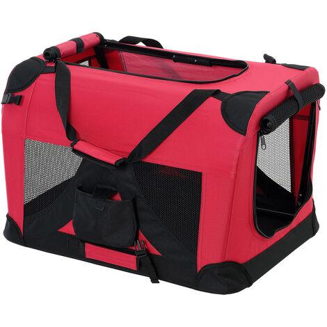 [pro.tec] Bolsa de transporte para mascotas - Tamaño: M (60x42cm) - Transportín plegable para perro (ROJO)