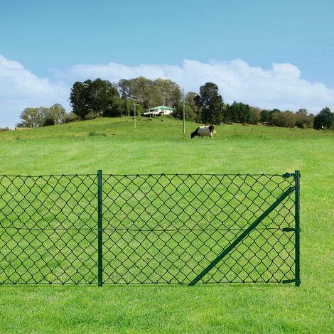 [pro.tec] Malla de alambre verde galvanizado (1,5m x 25m) Valla de tela metálica soldada - cerca de alambre