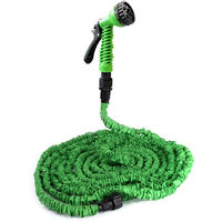 [pro.tec] Manguera flexible jardín en el set - extensible a 7,5m - incluyendo cabezal de pulverización y soporte - 3/4 - con pistola con7 tipos de chorro