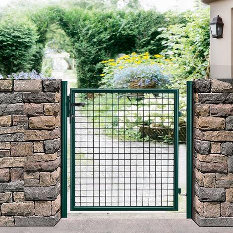 [pro.tec]® Puerta de jardín ( 200x106) verde de acero puerta valla