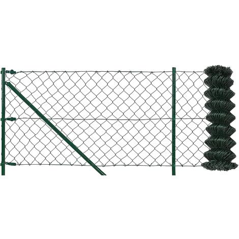 [pro.tec] Set completo valla cerca - malla de alambre de acero galvanizado 80cm x 15m) verde