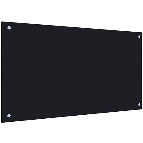Protección salpicaduras cocina vidrio templado negro 90x50 cm