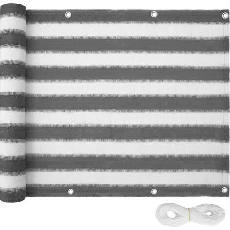 Protección visual para balcón, variante 2 - panel resistente de protección, revestimiento exterior para privacidad con cuerda, pantalla contra miradas indiscretas
