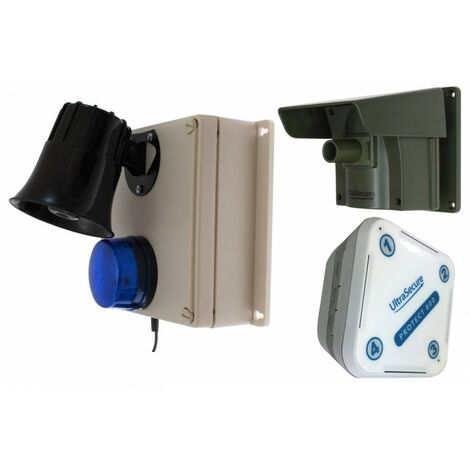Protect 800 Driveway Alert (with new multiple lens caps) & Outdoor Loud Siren, Flashing LED Receiver & Indoor Receiver. [004-4210]