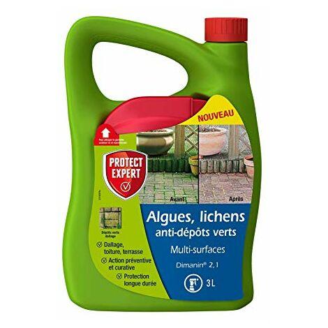 PROTECT EXPERT Protect EXPTER MOUSPAL3N Algues Lichens Anti Dépôts Vert | Multi Surfaces | 3L | Désinfectant | Prêt-à-l'emploi, Triple Action