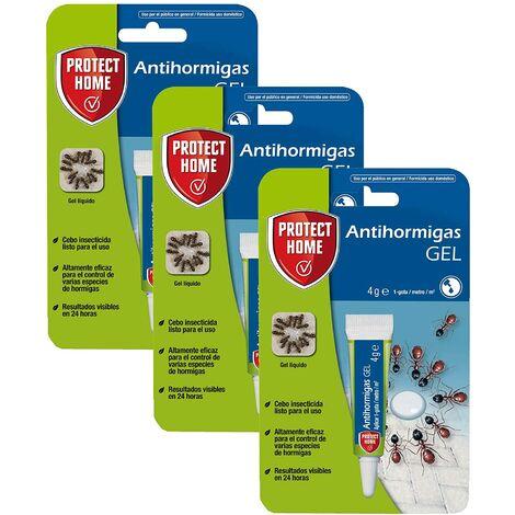 Protect Home - Antihormigas cebo en gel contra hormigas para interiores , rápida acción y altamente atractivo, 4g (Pack de 3 trampas)