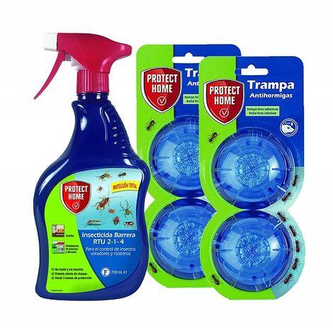Protect Home - Kit Antihormigas Protección Total, 4 trampas de gel + spray insecticida barrera, interior y exterior