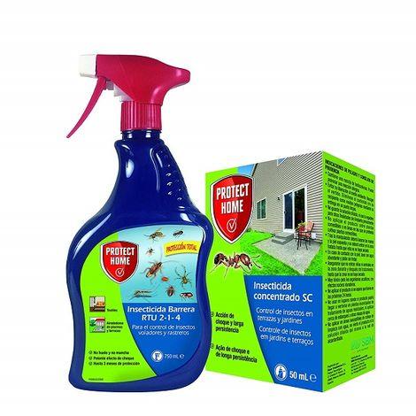 Protect Home Kit insecticida protección total interior y exterior, rastreros y voladores Líquido concentrado 50 ml + Spray insecticida 750 ml