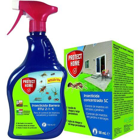 Protect Home - Kit Insecticida Protección Total SC interior y exterior, rastreros y voladores, líquido concentrado + Spray Insecticida 50ml