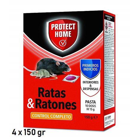 PROTECT HOME PASTA, Veneno para Ratas y Ratones en Cebo Fresco (BRODIFACUM) - Pack 4 x 150 gr