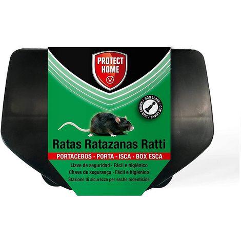 PROTECT HOME Portacebos para Ratas con Llave de Seguridad, Facil e Higiénico, Control de roedores, Ratas XL, Color Negro, 21 x 15 x 7 cm