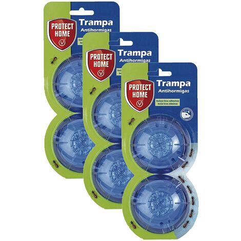 Protect Home - Trampa cebo para hormigas en gel, antihormigas para uso interior y exterior, 2 trampas (Pack de 3)
