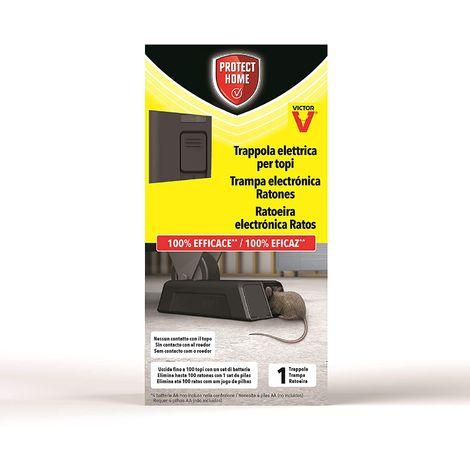 PROTECT HOME Trampa eléctrica para Ratones, 100% eficaz, Alto Voltaje, 100 descargas. Calidad Victor, Control de roedores - 1 ud
