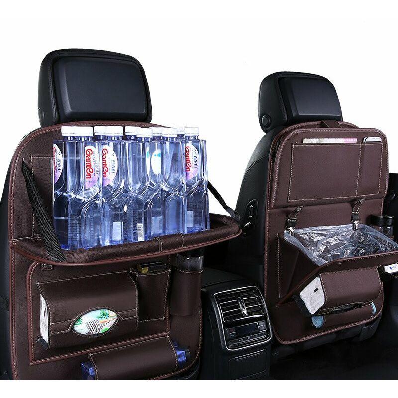 Protection de dossier de voiture 2 pièces, sacoche de siège arrière pour enfants, organisateur de siège arrière de voiture, grandes poches et