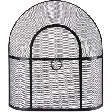 Protection étincelles cheminée, fines mailles, acier, sans trou, grillage protecteur, HxlxP 62x56x16cm; noir