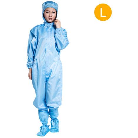 Protection Salopette Salopette Staticproof Vetements De Travail Vetements De Securite Pleine Bodysuit Costumes Anti-Poussiere, Bleu, L & Avec Des Chaussures