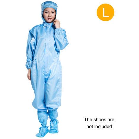 Protection Salopette Salopette Staticproof Vetements De Travail Vetements De Securite Pleine Bodysuit Costumes Anti-Poussiere, Bleu, L & Pas De Chaussures