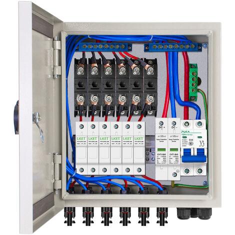 Protection solaire contre les surtensions de foudre de disjoncteurs de la boîte 12A de combinateur solaire de 6 cordes