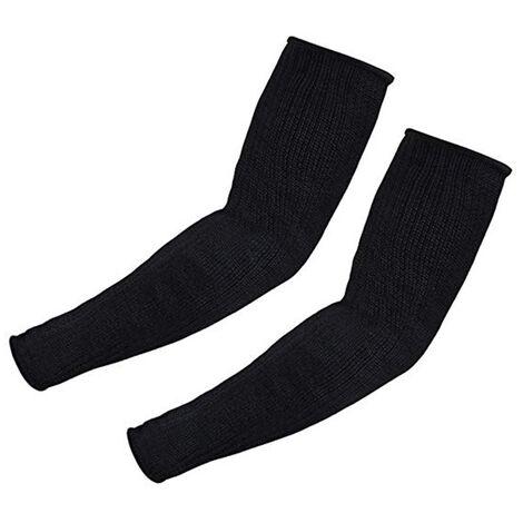 Protections de bras anti-coupure à manches longues 1 paire de poignets, protège-bras avec bandage au coude, manches anti-coupure, noir 35 cm