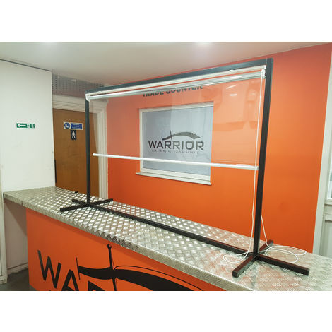 Protective Clear Roller Blind Countertop Screen 1500 x 1000mm trade counter shop