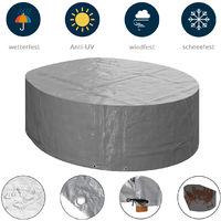 KaufPirat Premium Tarpaulin Round Diameter 195 x 90 cm Garden Furniture Garden Table Cover Protective Cover Dark Blue