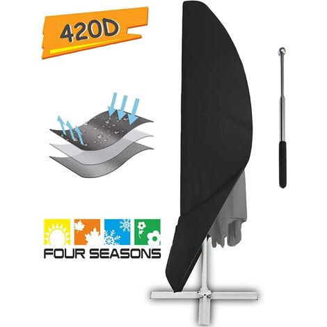 Protective cover for parasol with tarpaulin, protection for parasol, weatherproof, UV, windproof and snowproof, for deported parasol Black 265 x 40/70/50 cm