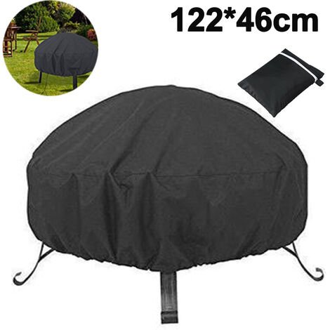 Protective cover for round fire bowl, waterproof, windproof, UV-resistant, 210D Oxford fabric fire pit fire pit cover (D122 x H46 cm), black