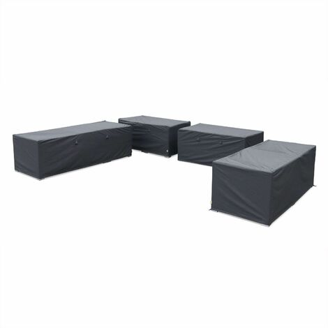 Protective covers for Tripoli & Verona garden furniture set, dark grey. Water-resistant, polyamide coating