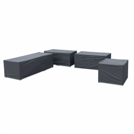 Protective covers for Venezia garden furniture set, dark grey. Water-resistant