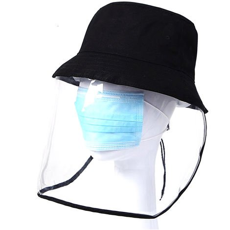"""main image of """"Protective Dustproof Hat with Transparent Face Shield Cover Men Women Full Face Hat for Camping Hiking Fishing Travel"""""""