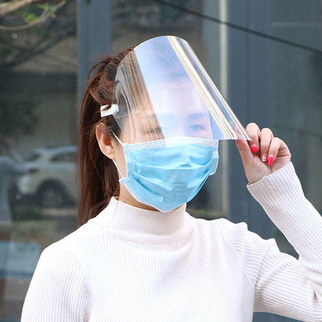 Protective Face Shield Clear Visor Flip Up Transparent Mask Anti Splash Elastic Band Full Face Cover