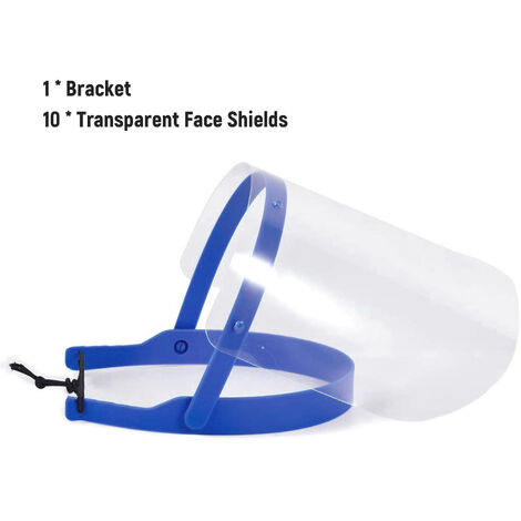 Protector facial de seguridad de 10 piezas, visera protectora transparente de mascara facial completa