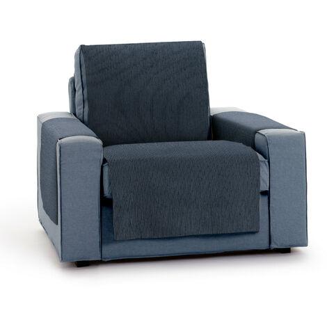 Protector Funda Sillon 1 Plaza o Relax. Chenilla Lisa. Diseño Elite. Color Azul. 1 Plaza